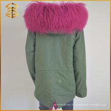 Manteau à capuche personnalisé bon marché Manteau épais en fourrure en fourrure Parka