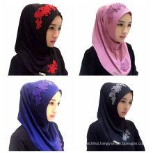 2017 Summer trends plain lace flower embroidery women muslim scarf dubai hijab cap maxi hijab one piece hijab