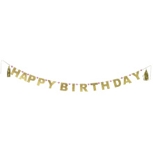 Gold Happy Birthday Party Flagge Banner