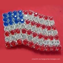 Nuevo diseño de la manera las estrellas y las rayas Broches / pernos de acrílico del Bowknot de la bandera americana para las prendas como