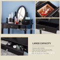 Vanity Table Set Stool Dressing Table Set Solid Makeup Table with Drawers Mirror (Black)