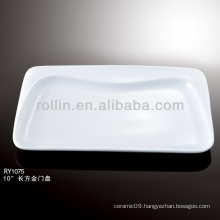 special white rectangular plate porcelain