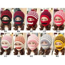Customfashion Mask Beard Handmade Knitting Knitted Hat