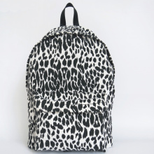 Black and white leopard canvas backbag