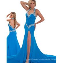 Made in China Billig Pageant Kronen Halter Open Schwarz Damen Kleider Online für Party mit Chiffon & Strass RO11-02