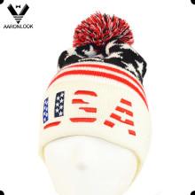 Acrílico jacquard patrón de estrellas EE.UU. bordado sombrero de gorrita