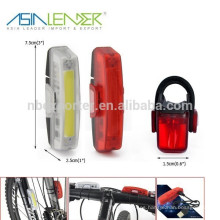 Super brillante USB recargable COB bicicleta luz con color rojo y blanco