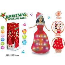 Música Dança Luz Xmas Doll Natal Princesa Girl Toy