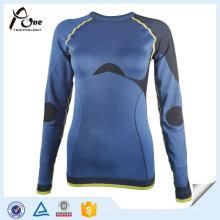 Дизайн бесшовные термальные с длинным рукавом рубашки женщин