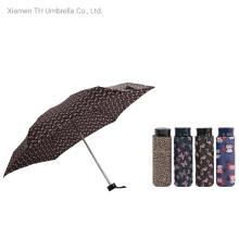 Small Mini 4 Folding Aluminum Manual Umbrella with Cartoon Printing/Compact & Light Gift Umbrella for Lady