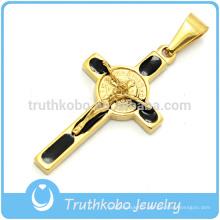 2016 vente chaude Christian Cross Pendentifs 18 K Plaqué Or En Acier Inoxydable Crucifix Mens Colliers