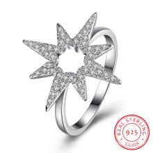925 Sterling Silver Flower Shape Zircon Ring Jewelry Design for Women