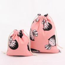 Wholesale custom full pattern printed cotton drawstring bag