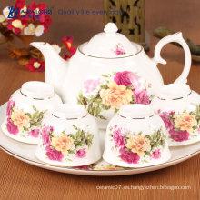 Juego de té de la porcelana del restaurante europeo tradicional / sistema de té elegante de la porcelana del hueso