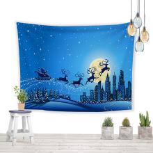Blue sky lucky deer printed wall tapestry