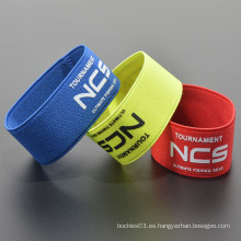 Poliéster personalizado su logotipo tejido elástico wristband tubo