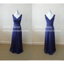 2016 Neue Samt Mutter der Braut Kleider blauen Abendkleid mit offenen Rücken