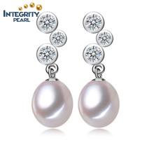 Boucles d'oreilles à la perruque à lacets 8-9mm AAA Boucles d'oreilles en perles à eau douce en gros Femmes