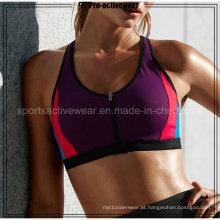 2016 mais novo design feito por atacado sexy Zipper Yoga Bra