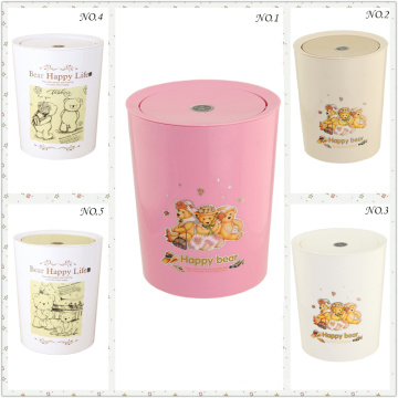 Fashionable and Creative Plastic Round Push Trash Bin (FF-5257-3)