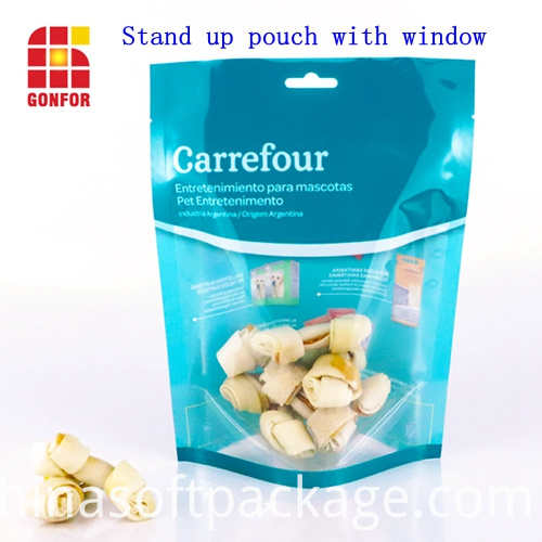 dog food stand up pouch with window