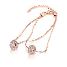 Pulsera de forma de bola de zircon pulsera de oro rosa para las niñas