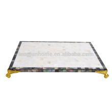 MOP noir et tapis de table à eau douce avec coin doré