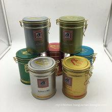 Round Shape White Black Printing Tea Tin Box Wholesale