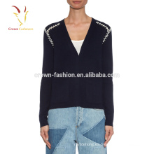 Suéteres de punto de cuello redondo de cachemira de lujo
