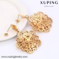 91281 xuping requintado padrão de design de moda 18k cor de ouro de aço inoxidável brincos de gota