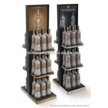 2-Way Wine Retail Store Display Fixture Bottle Champagne Trade Show Floor Metal Display Shelving