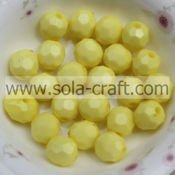 Natural Wholesale 4mm Gumball Plastic DIY Loose Faceted Round Gemstone Beads Yellow Color