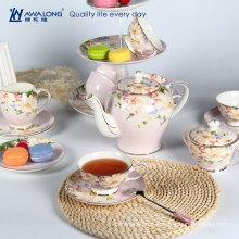 Kapok Blume rosa Tee-Set / Royal Tee-Set mit Tasse / Pakistan Art Porzellan Tee-Set aus China