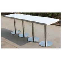 Table de bar extra longue à hauteur blanche avec base en acier inoxydable