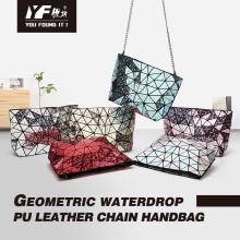 Geometric new droplet geometry female bag diamond chain one-shoulder strap bag leisure folding laser