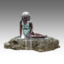 Große Statue Mädchen Brunnen Dekoration Bronze Skulptur Tpls-028