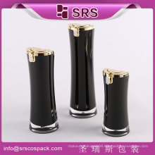 SRS made in China black cosmetic packaging, round 15g 30g 50g empty acrylic small plastic sealed containers
