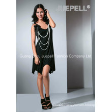 Ladies Knited Flowers and Pearls Accessory Asymmetric Dress