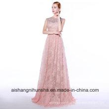 Spitze ärmelloses A-Linie langes Abendkleid bodenlangen Abendkleid