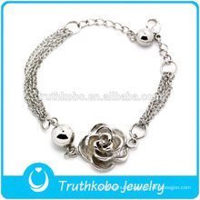 TKB-JB0083 Fashionable hot sale lovers's jewel with multi chains and delicate casting rose 316L stainless steel bracelets