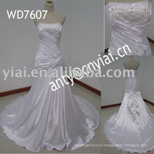 WD7607 Real Manufacture full skirt satin wedding dress
