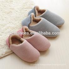 Women or man slipper striped cotton fabric winter warm slipper indoor shoes