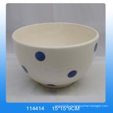 Pintado a mano dolomitas de cerámica tazón con punto blanco para la cocina
