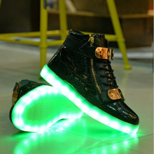 High Top Patent Leather LED Shoes for Adult