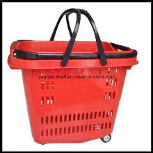 Yuada Zc-14 Wheel Trolley Supermarket Flexible Plastic Shopping Basket
