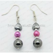 Boucles d'oreille en perles rondes en hématite de mode