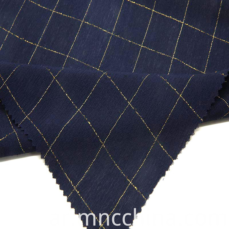 rayon crinkle with check lurex