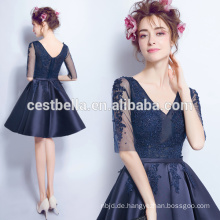 Graceful Kurzarm Sweat Partei Kleid Neueste Design Chic Chiffon Abendkleid Navy Blue