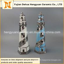 Creative Decoration Ceramic Lighthouse with Tealight