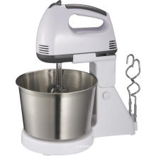 Hand-held whisk with stainless steel bowl